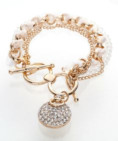 This Czech Crystal & Gold Charm Bracelet is perfect! #zulilyfinds