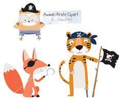 Animals Pirate Clipart cute animals clipart pirate clip by HandMek