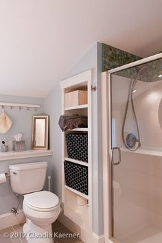 Built in shelves between the wall studs ~ especially good for small bathrooms.