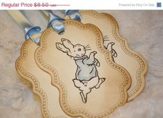 BLACK Fri CYBER Mon SALE Peter Rabbit Tags Baby by anistadesigns, $5.85