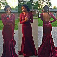 dark burgundy prom Dress,mermaid Prom Dress,long sleeves prom dress,backless evening dress,long evening dress,PD00309