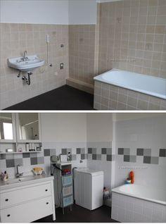 Mein Badezimmer - vorher Nachher - mit Fliessenaufkleber