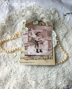 Miss Joyeux Noel HANDMADE Collage Tag with doily and buttons