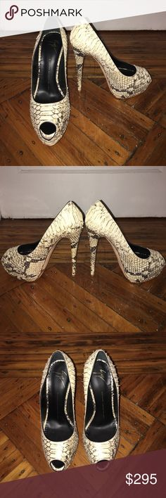 Giuseppe Zanotti Snakeskin Peep Toe Platform Heel Never worn size 40 Giuseppe Zanotti Platform Snakeskin Peep Toe Pump in amazing condition. These baby's go great with any outfit weather dressing up jeans & a T or pair with a pencil skirt or dress! Amazing find! Giuseppe Zanotti Shoes Platforms