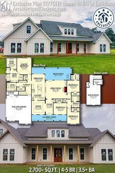 Dream House Interior, Dream Home Design, House Design, Yard Design, Barn House Plans, Cabin Plans, Louisiana, Modern Bungalow House, Farmhouse Floor Plans