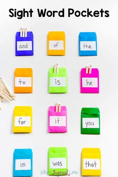 Most Popular Teaching Resources: Sight Word Pockets Activity
