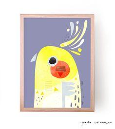 "This is a fine art print from the original ""Cockatiel"" Artwork by Pete Cromer. Bird Illustration, Graphic Design Illustration, Australian Birds, Cockatiel, Art Plastique, Bird Prints, Bird Art, Painting Inspiration, Pet Birds"