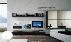 minimalist living room design decorating with modern tv wall cabinet storage systems: interior modern wall unit for shelf and tv set with glossy cabinet hang on the wall wall unit for your house with modern design Lcd Wall Design, Tv Design, House Design, Stand Design, Tv Wall Decor, Modern Wall Decor, Interior Design Living Room, Living Room Designs, Interior Designing