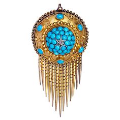 Etruscan Revival Antique Russian Turquoise Pendant Brooch |Made in St. Petersburg in the 1880s.