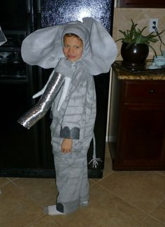 Side view of elephant costume for a school play.  I made 18!
