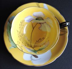 Lovely Black And Yellow Flower Princess China Occupied Japan Porcelain Tea Cup