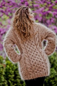 Tiffy Mohair Hand Knitted T- neck Cables Sweater Fuzzy Fluffy Thick M,L Knit Sweater Dress, Mohair Sweater, Sweater Outfits, Turtleneck Dress, Men Sweater, Thick Sweaters, Hand Knitted Sweaters, Wool Sweaters, Gros Pull Mohair