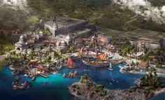 Concept art of Treasure Cove land at Shanghai Disneyland. The first ever pirate-themed land at a Disney park. This land was created especially for Shanghai Disneyland. Walt Disney, Disney Theme, Disney Magic, Disney Art, Shanghai Disney Resort, Disneyland Resort, Disneysea Tokyo, Disney Insider, Disney Parque