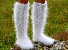 WHITE Hand knitted mohair socks Fuzzy handcrafted soft leg warmers by SUPERTANYA #SuperTanya #Casual