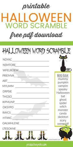 Printable Halloween Word Scramble Worksheet