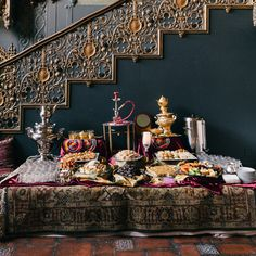 Brides.com: . A Persian tea station with traditional sweets, assorted fruits, and Iranian tea.