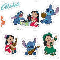 Lilo and Stitch Printable stickers Disney Diy, Disney Crafts, Disney Trips, Printable Stickers, Cute Stickers, Lilo En Stitch, Stitch Cake, Kid Movies, Disney Scrapbook