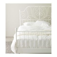 IKEA Leirvik bed frame, white, luröy, 150 x 200 cm in Auckland NZ. Ikea Leirvik, White Metal Bed, Double King Size Bed, Coastal Bedrooms, Comfort Mattress, Bed Slats, Bed Base, Metal Beds, Comfort Zone