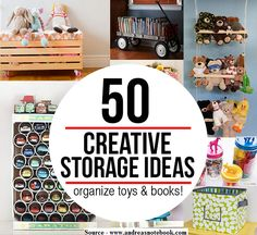 50 Cool And Creative Toy Storage Ideas...For more creative tips and ideas FOLLOW https://www.facebook.com/homeandlifetips