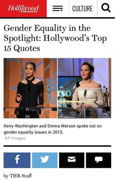 Gender Equality in the Spotlight: Hollywood's Top 15 Quotes  http://www.hollywoodreporter.com/news/gender-equality-quotes-hollywood-speaks-807676?utm_source=twitter