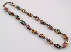 Antique Vintage Art Deco Venetian Murano Millefiori Glass Bead Necklace 18'