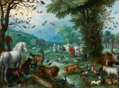 Paradise Landscape with the Animals Entering Noah's Ark 1596 Oil on copper, 27 x 36 cm Private collection