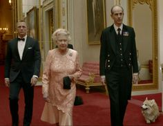 """""""James Bond"""" Daniel Craig taking the Queen to the Olympic Opening Ceremony in 2012.  queen-and-bond.jpg"""