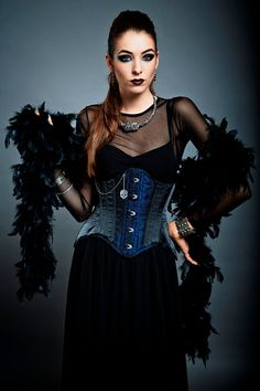 Goth Steampunk Underbust Corset Brocade door ManuelaBioccaDesigns