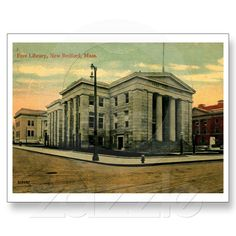 Library, New Bedford, MA 1912 - Purchase this card at Zazzle!
