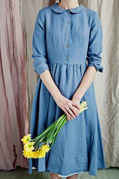 Classic Dress, Long sleeves, Grey Dandelion