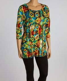This Blue & Red Arabesque Sidetail Tunic - Plus by GLAM is perfect! #zulilyfinds