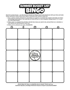 Don't let summer fly by — use this Summer Bucket List Bingo board to be intentional with your time and make family memories! Bingo Board, Summer Bucket Lists, Family Memories, Let It Be, How To Make