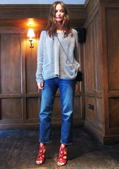 knit sweater with denim