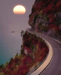 Seaside road in Thun, Switzerland
