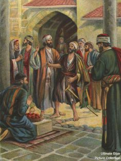 Acts 14 Bible Pictures: The crippled man of Lystra.  (Acts 14.8 - 9) H.