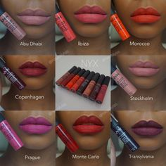 Nyx soft matte lip cream swatches on brown skin