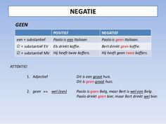 Negatie (ontkenning) NIET (deel 1)