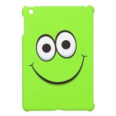 Happy smiling green cartoon smiley face funny iPad mini case