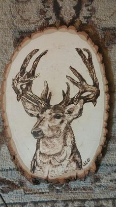 The Buck stops here.... woodburned by Jules