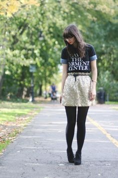 How to rock a graphic tee. Add cuffs to the shirt.