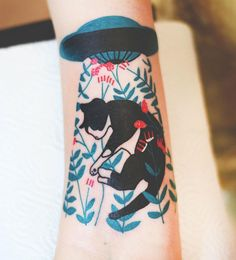 Wrocław-based tattoo artist Joanna Swirska inks carefully considered depictions of animals tinged with psychedelic splashes of color. Her most common subject is the humble feline which seems to make an appearance in nearly half of her works which run the gamut from graceful to fantastically absurd.