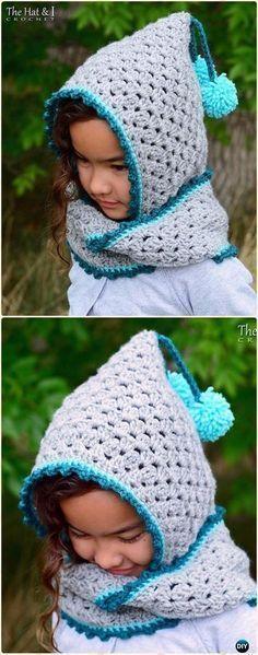 Crochet Harlequin Hoodie Cowl Hat Free Pattern - Crochet Hoodie Scarf Free Patterns