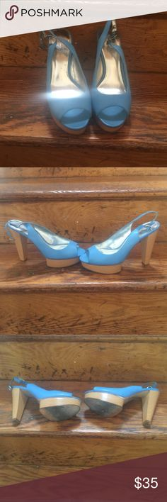 Jessica Simpson peep toe sling back heels Baby blue heels from Jessica Simpson. 5in heel, 1in platform. USED. No box available. Jessica Simpson Shoes Platforms