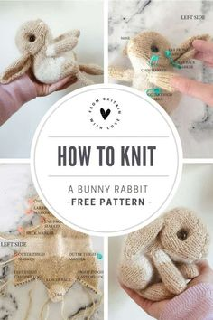 How to knit a bunny rabbit - free pattern & tutorial - From Britain with Love How to knit an easter bunny. Click through for easy step by step tutorial and free knitting patter to make a knitted eas. Knitting Terms, Knitting Patterns Free, Free Knitting, Knitting Projects, Free Pattern, Knitting Ideas, Knitting Tutorials, Loom Knitting, Knitting Needles