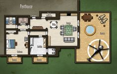 Modern Penthouse Map from the module: Horizon 3 - Colombian Subterfuge.  Fantasy Cartography by Sean Macdonald