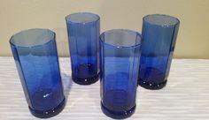 Essex-Cobalt Blue by Anchor Hocking (4) 12 oz glasses #AnchorHockingGlass