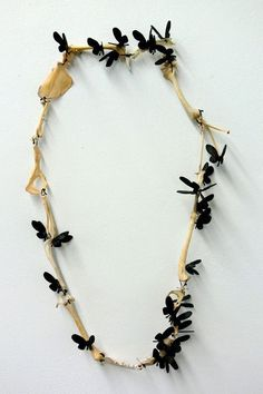 Kelly Jean Conroy: 'Passing' bone, silk, oxidized copper butterflies