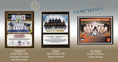 You have a great team photo taken, now what? We can help you display it in a meaningful way, whether you just want the basic team and roster info, or the whole shebang of season scores. This graphic shows our different photo plaque style options, choose one of these along with the size, and we'll take on the design work for you (at no extra cost to you). www.sportplaques.com #photoplaques #chooseyourstyle #teamphoto Team Photos, Sports Photos, Award Plaques, Parent Night, Sports Awards, Great Team, Banquet, Scores, Things To Come