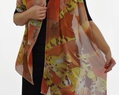 Hand painted silk scarf/Painted silk scarf/Yellow Orchids Painting silk scarf Exotic flowers/Woman long scarf/ Luxury scarf made by /S0081