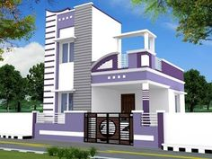 Hasil gambar untuk front elevation designs for duplex houses in india House Front Wall Design, Single Floor House Design, House Outside Design, Village House Design, Kerala House Design, Bungalow House Design, Small House Design, Indian House Exterior Design, Front Elevation Designs